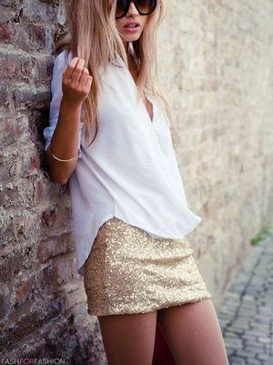 With shimmer skirt